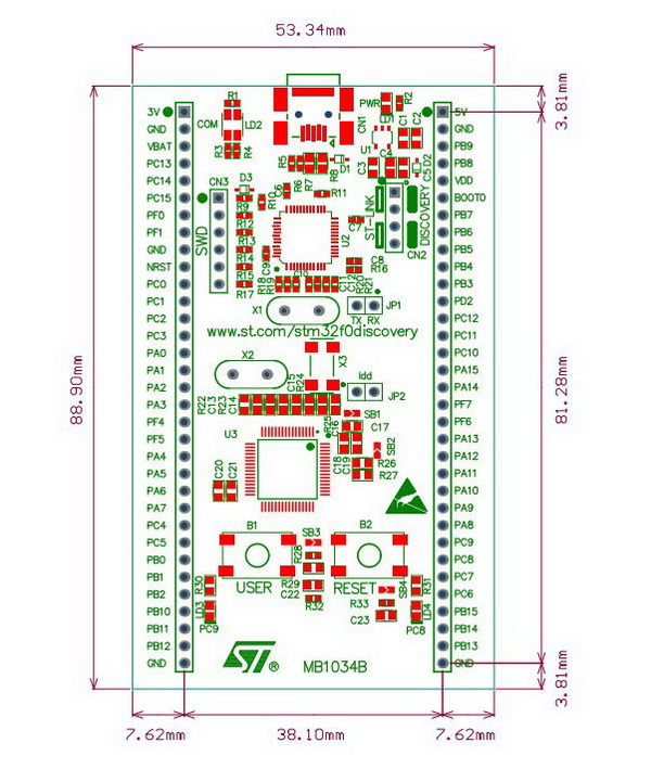 STM32F0DISCOVERY board dimensions