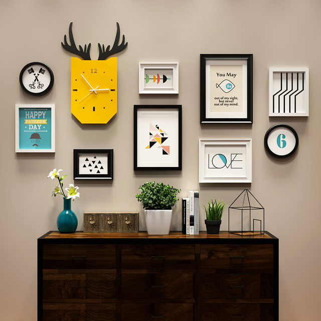 New Modern Clock Living Room Fashion Time Painting Photo Frame Set Inspiration Solid Wood Home Office Furniture Set Decoration