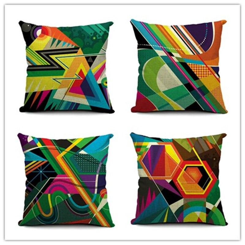 ୧ʕ ʔ୨Home Style Colorful Geometric Printed Pillow Bed Sofa Home