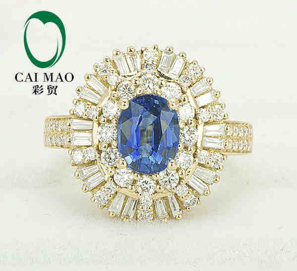 купить CaiMao 18KT/750 Yellow Gold 1.12 ct Natural IF Blue Tanzanite AAA 1.60 ct Round Cut Diamond Engagement Gemstone Ring Jewelry по цене 167681.84 рублей