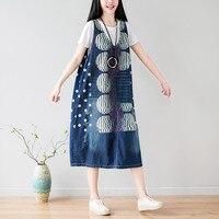 Plus Size Denim Dresses for Women Print 2018 Spring Summer Dress Casual Holes Sleeveless V neck Loose Dress Dot Sarafan Boho New
