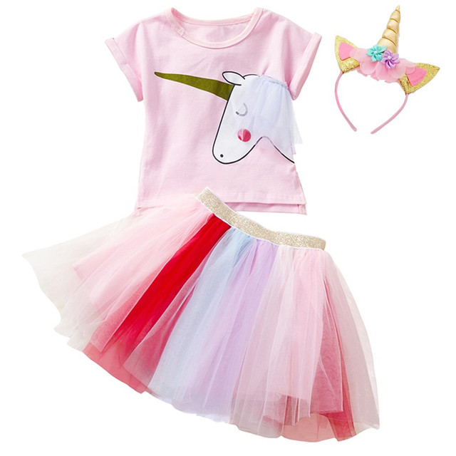 Flower Girls Unicorn Tutu Dress Rainbow Princess Girl Birthday Party Outfits Children Kids Costume 2 3 4 5 6 Years Pink