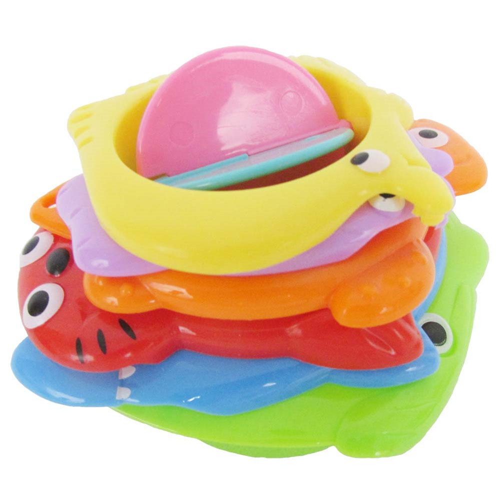 6 Pcs Kids Toy Baby Stacking Cups Funny Animal Toys For Boy Girl Baby Random Rainbow Tower Plastic Ring Stacking Stack Up Nest