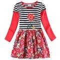 2015 nuevo vestido de diseños de dibujos animados de algodón bordado muchachas del otoño visten nova desgaste de los niños de los vestidos ocasionales vestido de nova