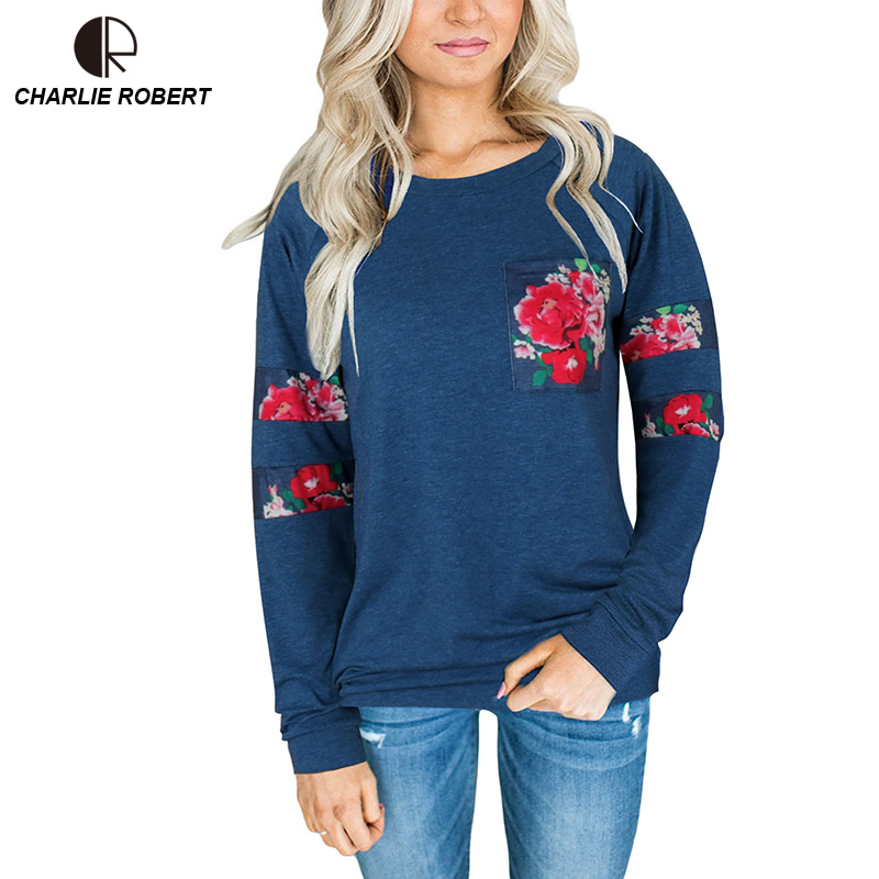 CR 2017 NEW Women Long Sleeve T-shirt knitted Tops Appliques Rose Tee Plus Size Good Quality Comfortable Shirts Soft Tops WT1207