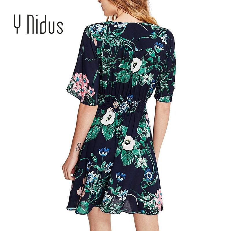 96f5b71a396fe Aliexpress.com : Buy Y Nidus Women Dresses Summer Dress 2018 Mini Sundress  Tassel Belt Button Up Split Floral Print Flowy Boho Beach Dresses vestidos  ...