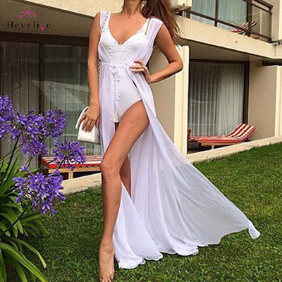 Sexy Long Bikini Cover Ups For Women Solid Chiffon Beach Swimsuits Cover Ups Sleeveless Summer Dress New Girls Party Cover Ups