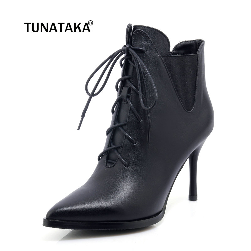 Ladies Genuine Leather Lace Up Thin High Heel Ankle Boots Fashion Pointed Elastic Band Winter Bootie Black Pink black leather look skater skirt with elastic band
