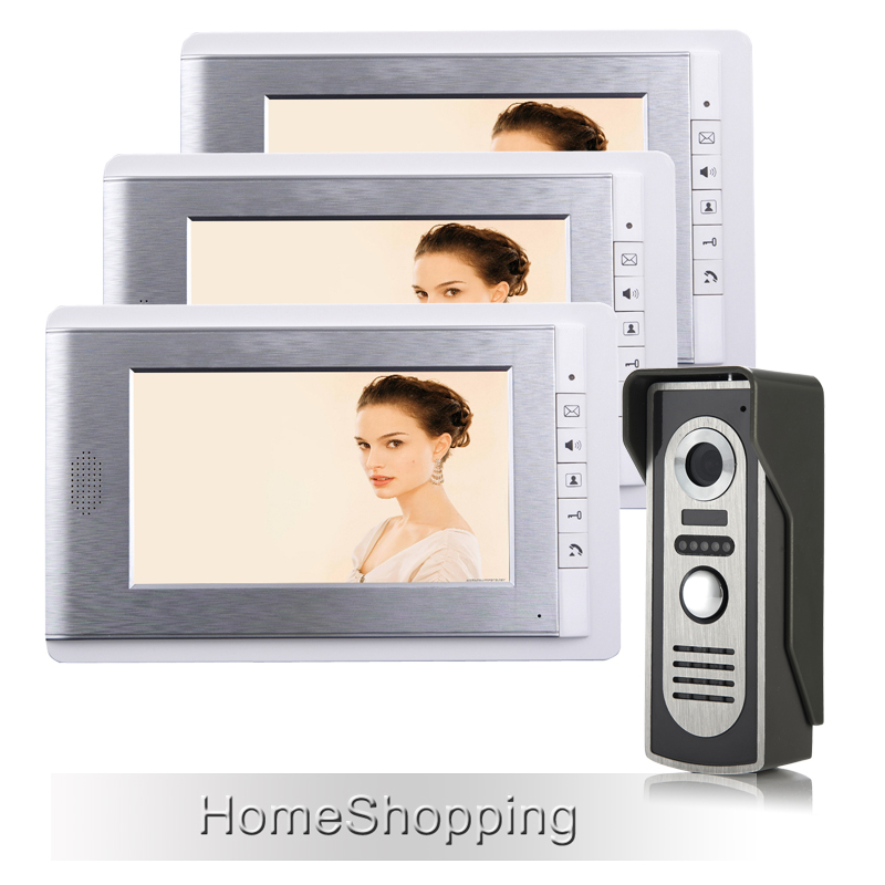 FREE SHIPPING Wired 7 TFT Color Screen Video Door phone Intercom System 1 Outdoor Bell Camera + 3 Monitors IN STOCK Wholesale free shipping touch key wired 7 inch color screen video intercom door phone system 3 monitors 1 outdoor bell camera in stock