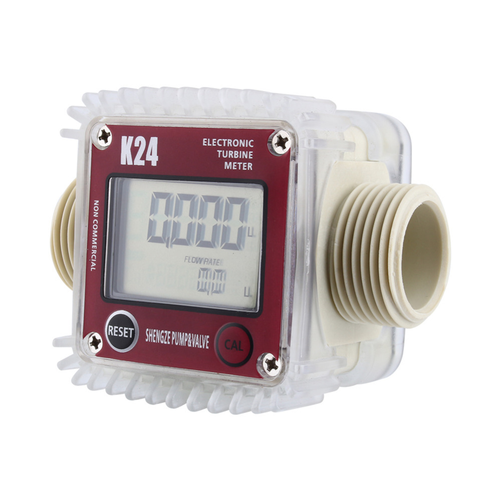K24 LCD Turbine Digital Diesel Fuel Flow Meter for Chemicals Water Sea Adjust Color Red new arrival pro k24 digital fuel flow meter for chemicals water random color free shipping