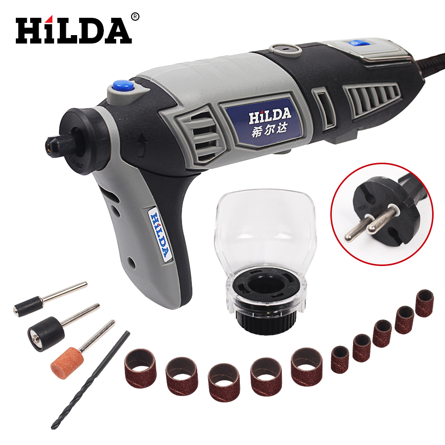 цена на HILDA 220V 180W  Variable Speed for Dremel Rotary Tool Electric Mini Drill with 14pcs Accessories