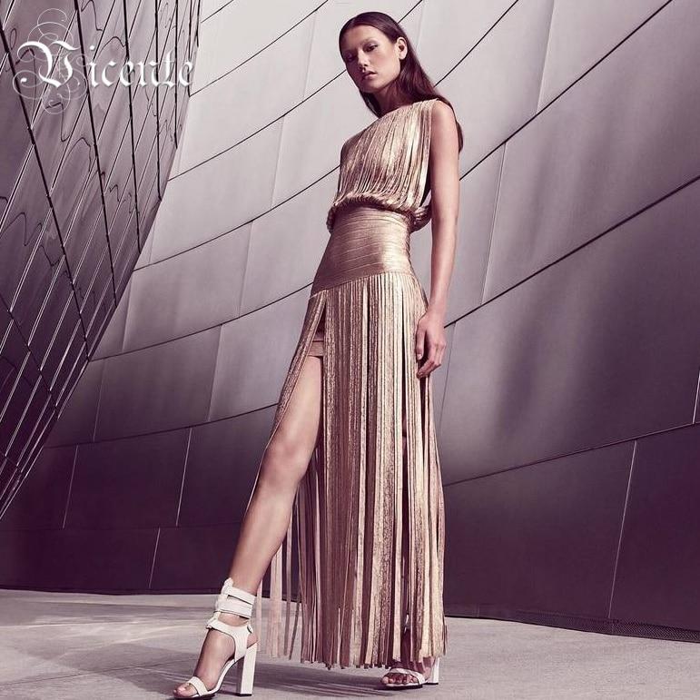 Free Shipping! 2018 New Fashion Elegant Oil Print Tassels Embellished Gown HL Celebrity Maxi Long Bandage Dress