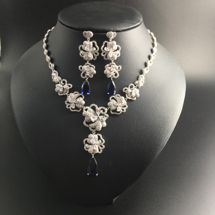 2018 new elegant flower blue water drop zircon necklace earring jewelry set wedding bride banquet dress jewelry free shipping