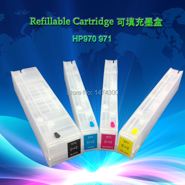 4 Pack Empty Refillable Ink Cartridges w/o chip for HP 970XL 971XL  for OfficeJet Pro X476dn X476dw X451dw X451dn X551dw X 576dw refillable ink cartridges for hp 70 z2100 3100 b9183 with auto reset chip
