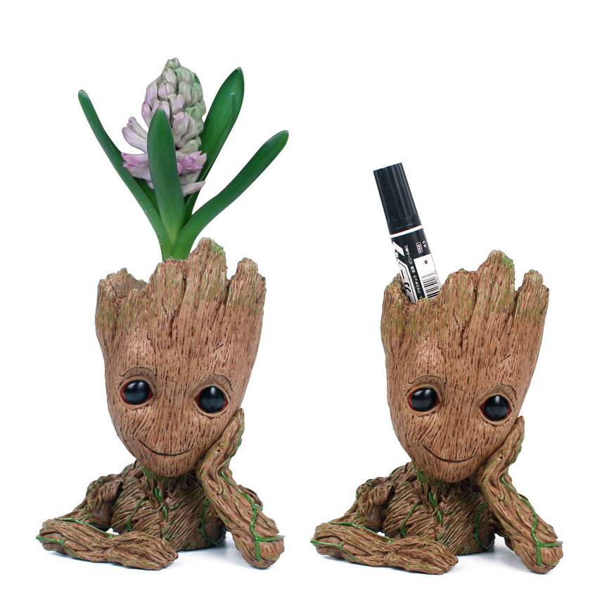 1 pec Guardians of The Galaxy Flowerpot Baby Tree man Action Figures Cute Model Toy Pen Pot Best Gifts