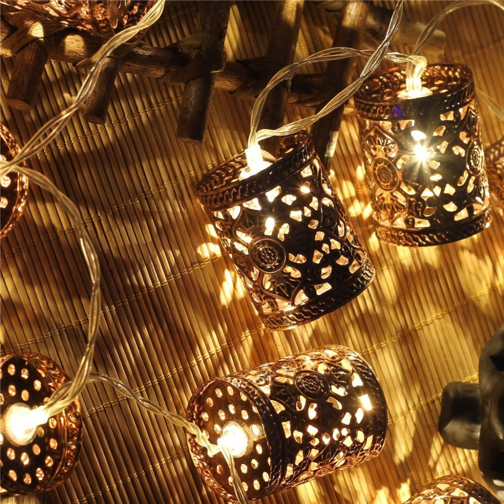 steel retro round lantern battery operated led fairy string christmas lights diy for christmas xmas tree wedding party decor in led string from lights