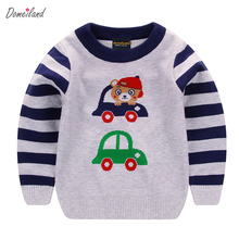 2017 fashion spring brand domeiland Children clothing Sweaters Cute Cartoon car bear stripe Pullover long sleeve Clothes