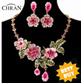 Chran Wholesale Gold Plated Cheap Price Pink and Blue Flower Earrings and Necklace Costume Jewelry Set Wedding FREE SHIPPING