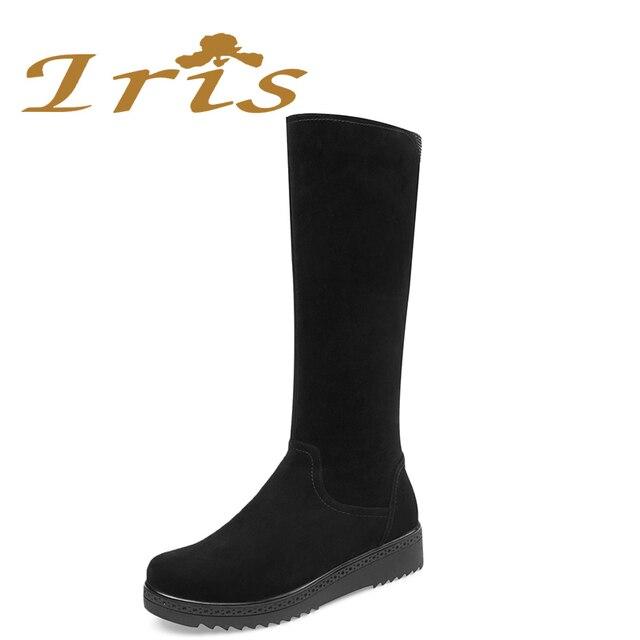 44c753cd1 IRIS/женские зимние сапоги из натуральной кожи на плоской подошве с теплым  шерстяным мехом,