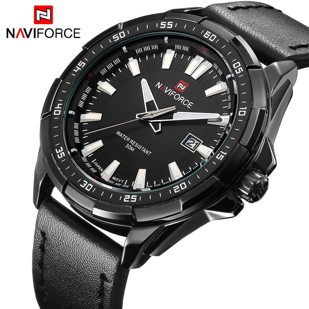 NAVIFORCE Fashion Casual Sports Men Watches Mens Quartz Date Clock Man Leather Strap Army Military Wrist Watch Relogio Masculino