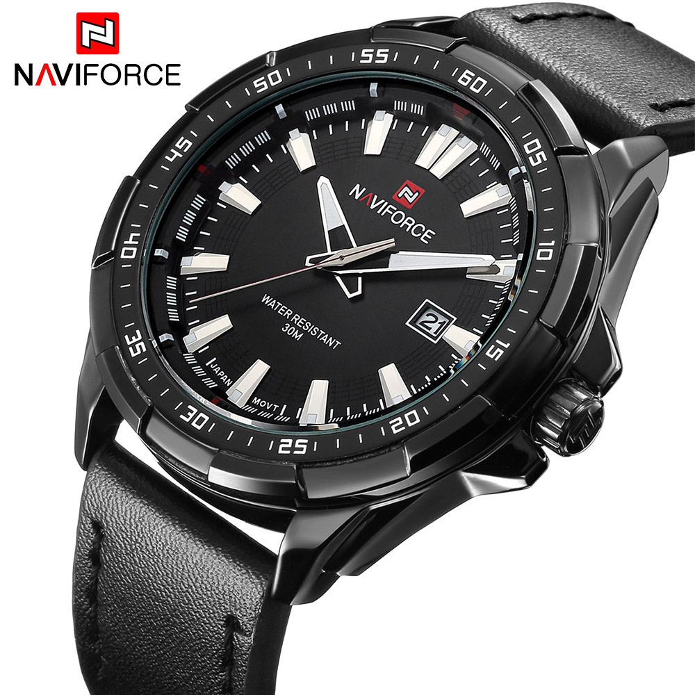 NAVIORCE Fashion Casual Sports Men Watches Men's Quartz Date Clock Man Leather Strap Army Military Wrist Watch Relogio Masculino contrast striped trim camo print tee
