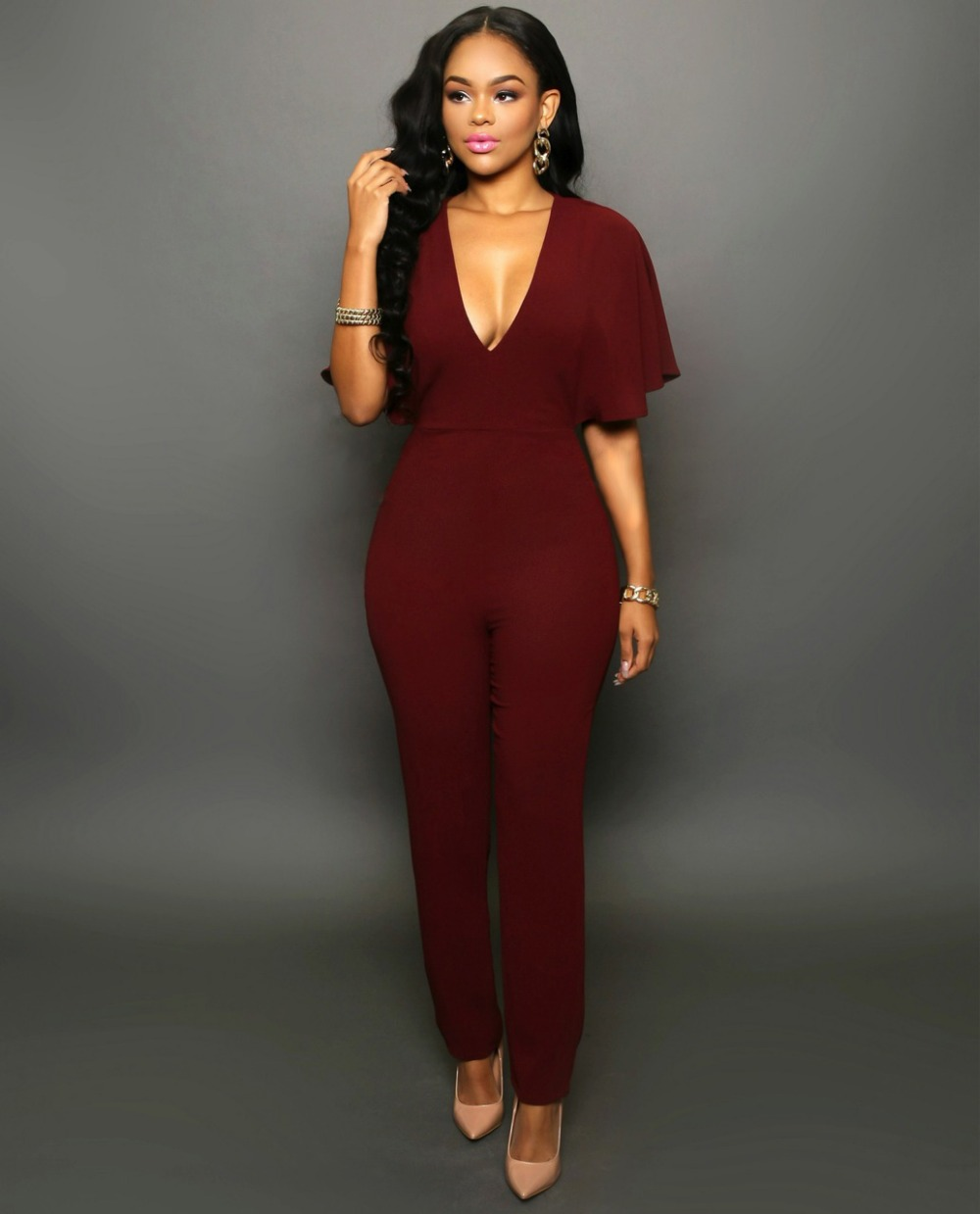 c531bf6dd726 V Neck Half Sleeve Ankle Length Jumpsuits-in Jumpsuits from Women s  Clothing   Accessories