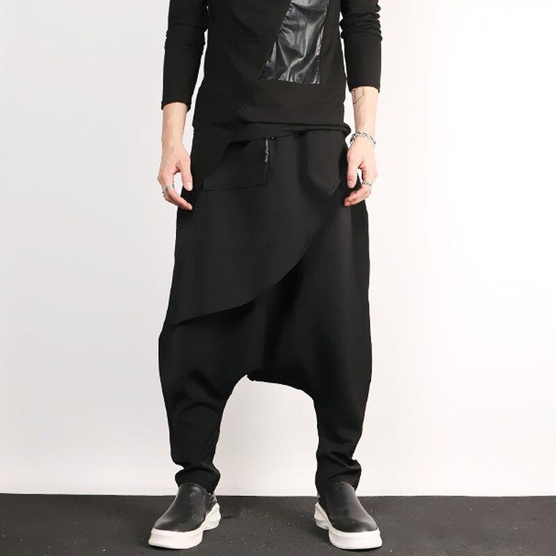 Men Low Crotch Harem Pant Male Fashion Casual Loose Punk Gothic Style Trouser Streetwear Hip Hop Pants