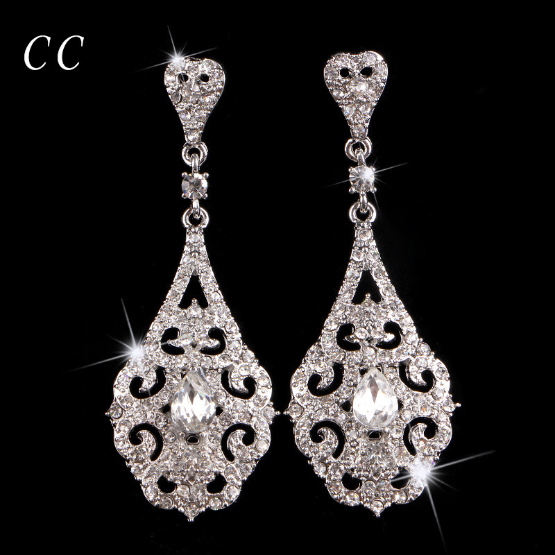 White Gold color New Design Top Quality Crystal for Women Wedding Jewelry for Brides Fashion Jewellery Gift Accessories B018