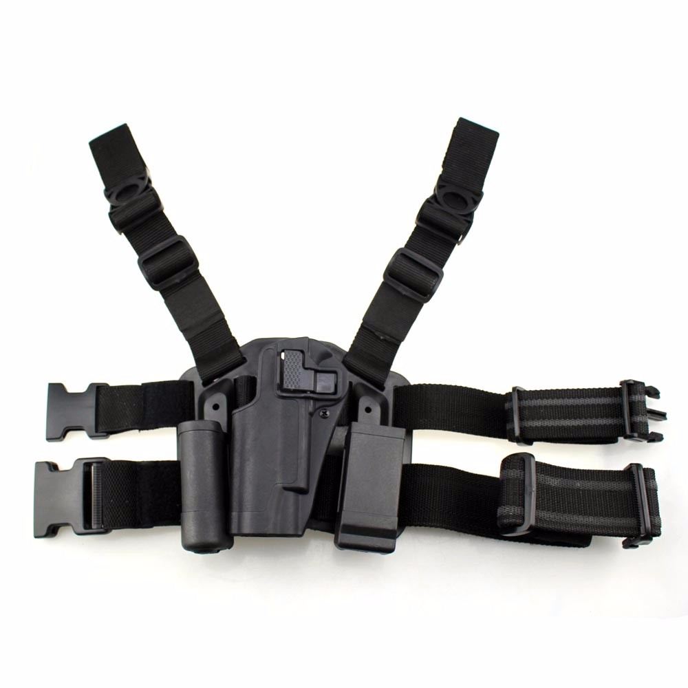 Left Hand Tactical 1911 Leg Holster Paddle Thigh Belt Drop Pistol Gun Holster with Magazine Torch Pouch for Colt 1911