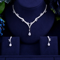 Newest Luxury Sparking Brilliant Cubic Zircon Clear Earrings Necklace Heavy Dinner Jewelry Set Wedding Bridal Dress Accessories