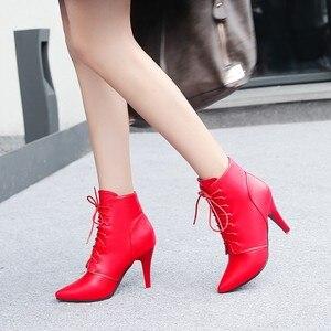Image 5 - Простые облегающие ботинки большого размера 11 12 13 14 15 европейцев и американцев на высоком каблуке с острым носком и шнуровкой спереди