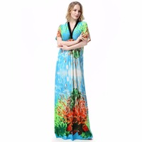 New Woman Dresses Summer Deep Batwing Sleeve Big 5XL 6XL 7XL Beach Flower Dress Vintage Long Plus Size Maxi Dress Jurkjes
