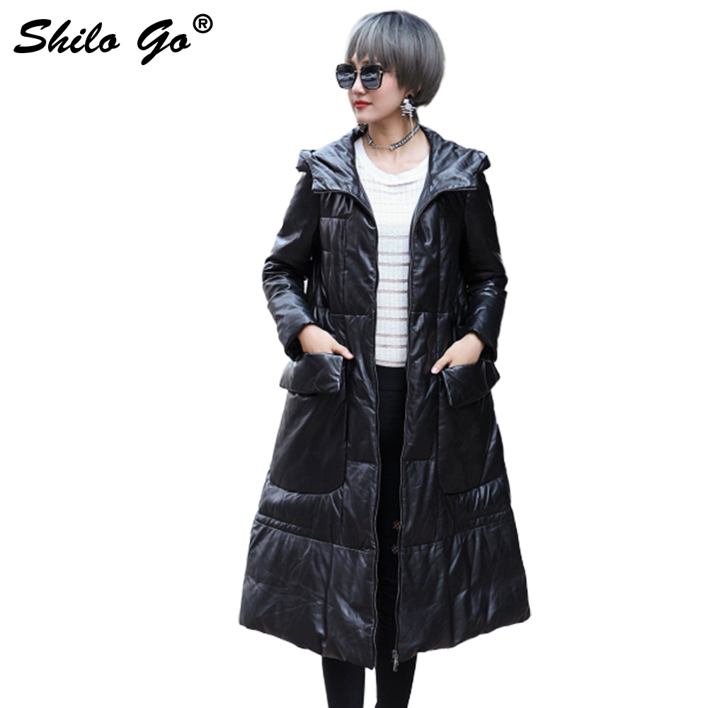 SHILO GO Down Leather Trench Womens Winter Fashion sheepskin genuine leather Long Coat hooded long sleeve side pocket A Line