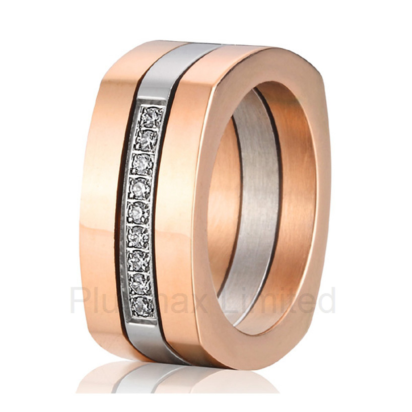 anel feminino ouro titanium soul mate three rings in one wedding band engagement rings for men and women 2016 anel feminino ouro cheap affordable prices endless love wedding band pure titanium rings for women