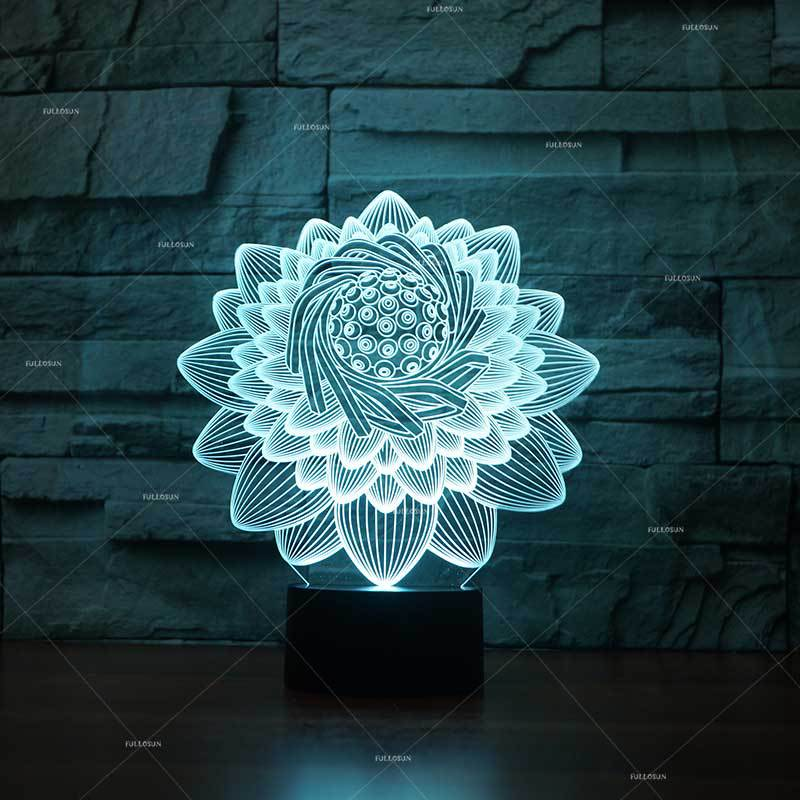 Lotus Colorful 3d Night Light Button Charged Led  Desk Lamp Lights Home Bedroom 3D Table Lamp For BedroomLotus Colorful 3d Night Light Button Charged Led  Desk Lamp Lights Home Bedroom 3D Table Lamp For Bedroom