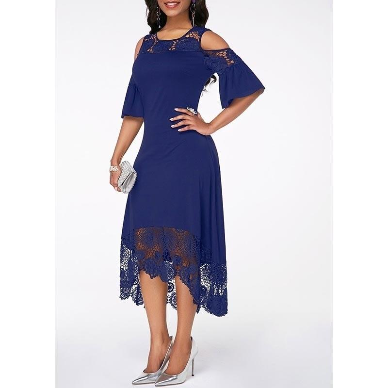 Casual Plus Size Slim White Lace Women Maxi Dress