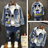 spring and autumn Kids boys clothes set Baby boy clothes fashion toddler baby clothing Denim jacket + jeans boys set (No t shirt