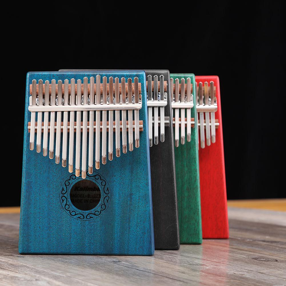 17 Teclas Africanas Kalimba Pulgar Piano Niños Adultos Cuerpo Música Dedo Percusión Teclado Caoba Madera Dedo Piano W/sintonizador Martillo Adoptar TecnologíA Avanzada