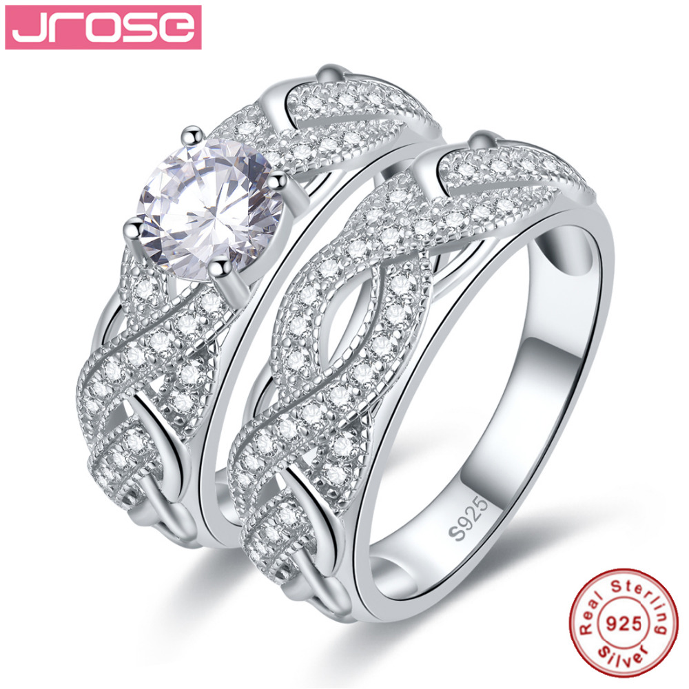 Jrose High Quality White CZ Solid Real Sterling Silver Jewelry 2-Pcs Couple Rings Wedding Engagement 925 Silver Jewelry Ring Set gj303 rhinestones 316l stainless steel couple s ring black silver size 9 7 2 pcs