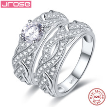 hot deal buy jrose high quality white cz solid real sterling silver jewelry 2-pcs couple rings wedding engagement 925 silver jewelry ring set
