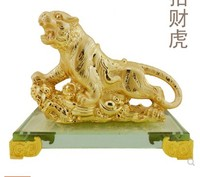 Handicrafts were laid out by tigers Town house attract money up ornaments zodia mountain tiger light gold plated Animal resin