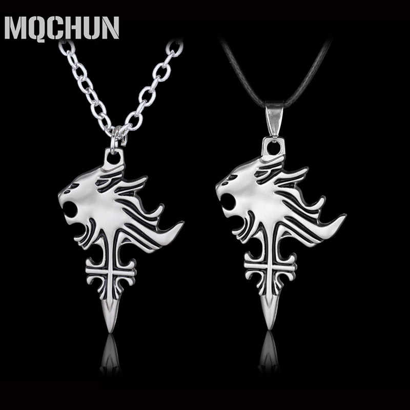 Sliver Color Jewelry Final Fantasy VIII 8 Sleep Lion Head Squall Griever Pendants Necklace Men Cosplay Gift for Women and Men-30