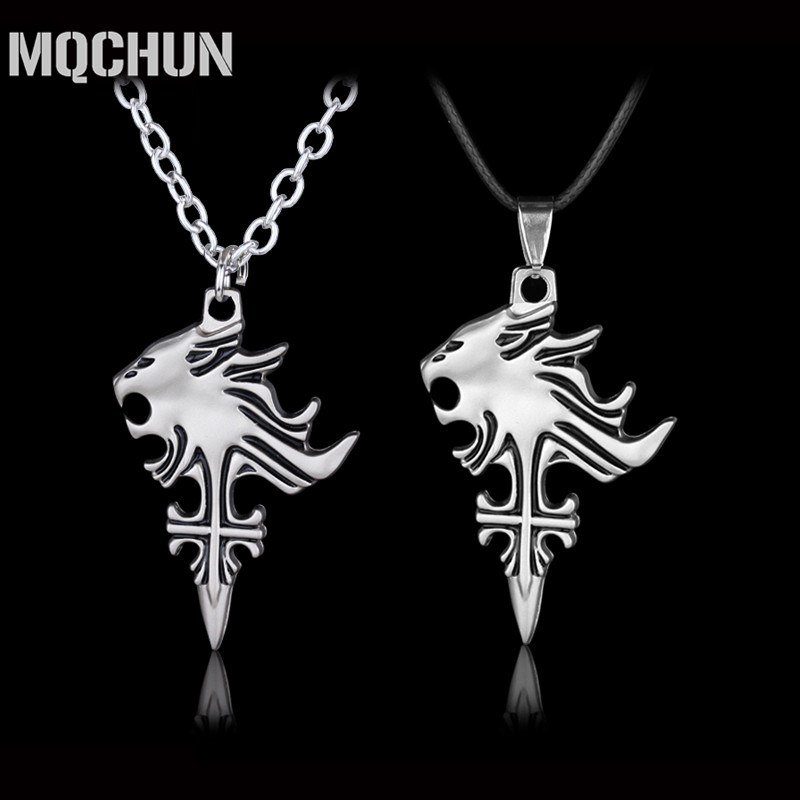 Sliver Color Jewelry Final Fantasy VIII 8 Sleep Lion Head Squall Griever Colgantes Collar Hombres Cosplay Regalo para Mujeres y Hombres-30