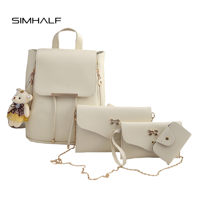 SIMHALF Fashion 4Pcs/set PU Leather Women Backpack Leisure School Bags For Teenage Girls Rucksack Shoulder Bag Purse Hot Mochila simple style backpack women genuine leather shoulder bag for teenage girls fashion vintage rucksack designer school mochila