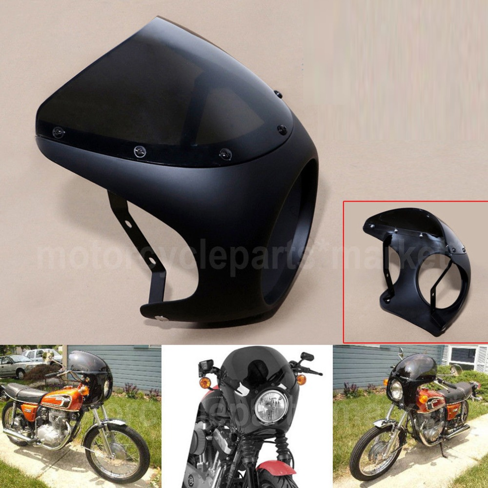 Blac perfk Retro Headlight Fairing Wind Screen Cover Replaces for Harley Motorcycle Cafe Racer