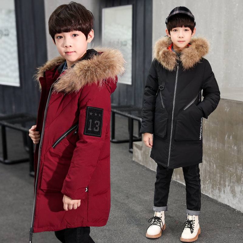 High Quality Kids Boys Winter Coat Size 4 6 8 10 12 to 14 Y Long Black Red Hooded Cotton-padded Jacket Warm Coat for Boys 5M19