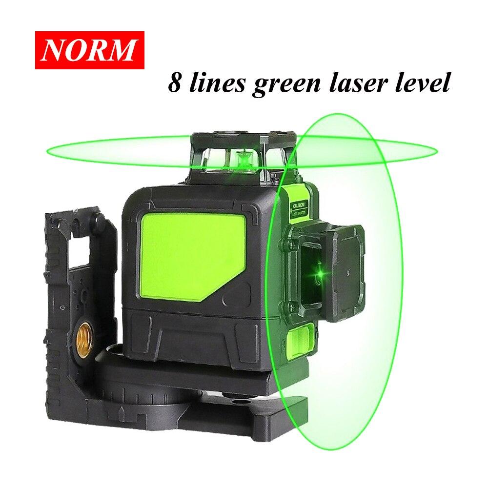 8 linhas 5/2 linha Verde/vermelho Níveis Laser Auto Nivelamento 360 Horizontal e Vertical Cruz Super Poderosas 3D Laser linha de feixe