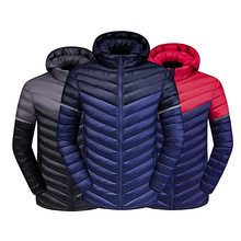 Fashion Vibrant youth pop mens winter down jacket new color matching detachable cap stitching light clothing