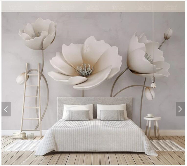 Custom Floral Wallpaper Elegant Flowers Marble Texture Murals For