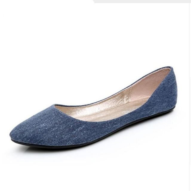 2016 New Women Soft Denim Flats Blue Fashion High Quality Basic Pointy Toe Ballerina Ballet Flat Slip On Office Shoes C1062